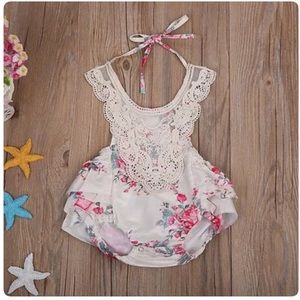 Other - NWT Lace Creme Floral Romper